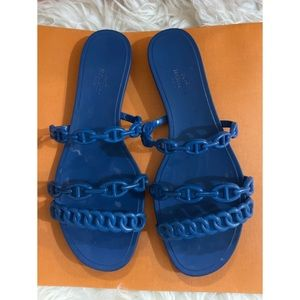 Hermes Blue Rubber Chaine d'Ancre Rivage Sandals